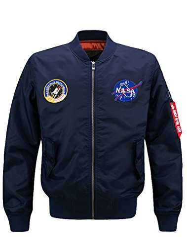 Mens Bomber Army Style Lightweight Flight Windbreaker Navy Blue NASA Jacket