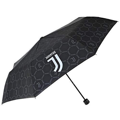 Taschenschirm Juventus Football Club - Juve Regenschirm Offiziell Klein Kompakt Leicht - Regen Schirm Schwarz und Weiß - Juventus Turin Fanartikel Kinder Herren Damen - Durchmesser 98 cm - Perletti
