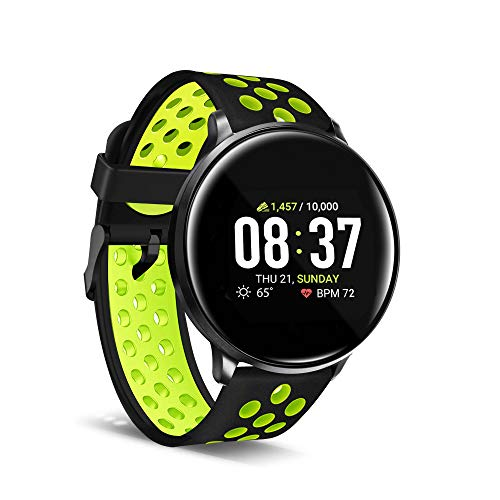 iTouch Sport Round Smartwatch with Waterproof Technology, Heart Rate Monitor, Multi-Sports Mode, Pedometer, for Android and iOS Smart Phones - Perforated Silicone Strap (Black/Lime)
