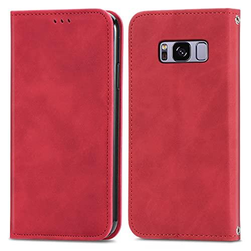 ZHANGHUI Funda protectora con tapa para Samsung Galaxy S8, cierre magnético, funda de piel con ranuras para tarjetas, cubierta de protección (color rojo)