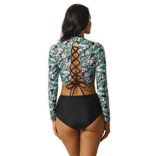 winying Women's Floral Print Rashguard Bikini Tankini Set High Waisted Swimming Costumes Swimwear Black L