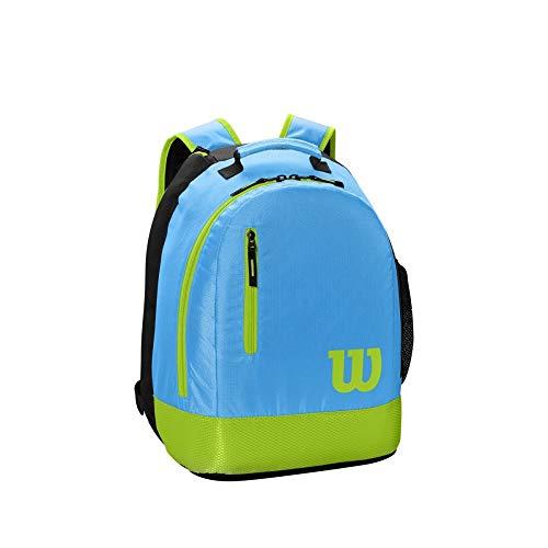 Wilson, Mochila juvenil de tenis, 2 compartimentos con cremallera, Hasta 2 raquetas, Azul/Gris