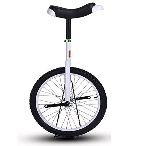 aedouqhr Monociclo de Rueda de 18'para niños/niños, Rueda de neumático a Prueba de Fugas para Ciclismo al Aire Libre, Altura para Principiantes 140-150 cm, Edad 6/7/8/9/10 años (Color: Blanco)