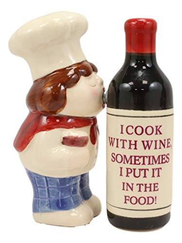 Ebros Italian Marsala Chef Kissing Wine Bottle Love Affair Ceramic Salt And Pepper Shakers Set Fun Kitchen Dining Magnetic Decor Collectible Figurines