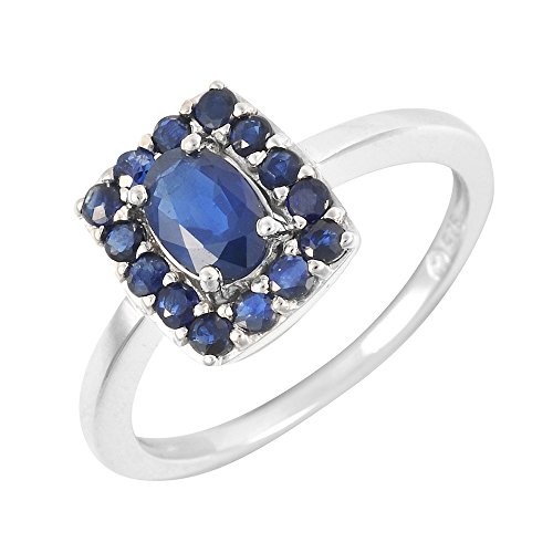 Ivy Gems Sterling Silver Oval Cut Midnight Blue Sapphire Ring - Size M