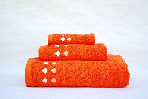 Juego de 3 toallas(100x150, 50x100, 50x30)mod. diamante naranja, 100%algodón, 520gr/m2, fabricado en portugal.