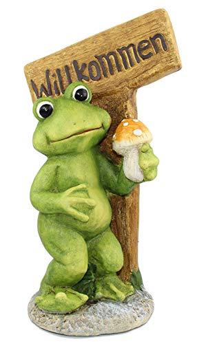 Frosch mit Schild Willkommen 54 cm groß Dekofrosch Gartenfigur Froschfigur Gartenfrosch Willkommendeko