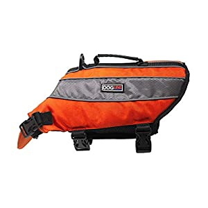 Dogline Dog Life Jacket – Dog Life Vest for Swimming and Boating in Hi-Viz Colors with Reflective Strips Mesh Underbelly for Draining and Drying and Top Carry Handle