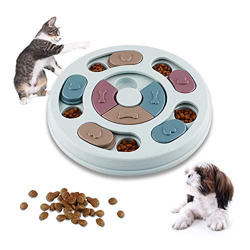 WELLXUNK Juguete de Puzzle para Perros, Alimentador Interactivo para Cachorros, Juego de Inteligencia para Perros, Alimentador Lento para Perros, Cachorros y Gatos, con Antideslizante (Azul)