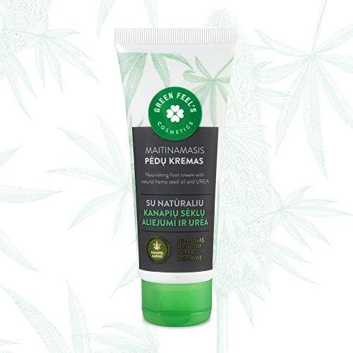 Crema para pies orgánica con aceite de semilla de cáñamo natural y urea - Crema para pies - Bálsamo para pies, Cuidado de pies para pieles secas - Ayuda a combatir callos y grietas - 75 ml