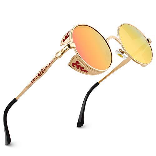 CGID Retro Sonnenbrille im Steampunk Stil runde Metallrahmen Polarisiert Brille Herren Damen Gold Rahmen Rote Orange Gläser Verspiegelt, CAT3, CE, E71
