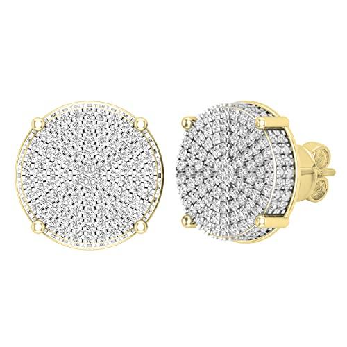 Dazzlingrock Collection Pendientes redondos de 0,50 quilates (quilates) de diamantes blancos redondos con forma de círculo pavé de clúster para mujer de 1/2 quilates, oro amarillo de 14 quilates