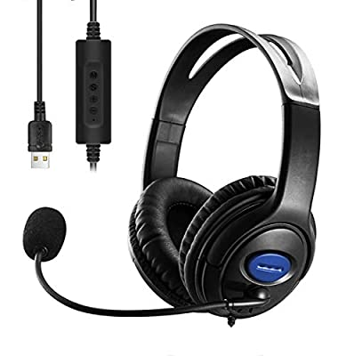 USB Headset with Microphone Noise Cancelling & Audio Controls, Stereo PC Headphone for Business Skype UC Lync Softphone Call Center Office Computer, Clearer Voice, Super Light, Ultra Comfort (Black) by COMBLU