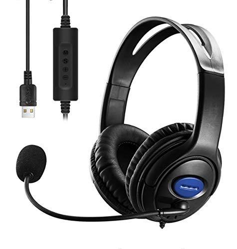ENTBI USB Headset mit Mikrofon, USB Wired PC Kopfhörer Ultraleicht & Komfort mit Noise Cancelling & Audio Controls für Callcenter/Büro/Konferenzanrufe/Online Course Chat/Skype (Red)
