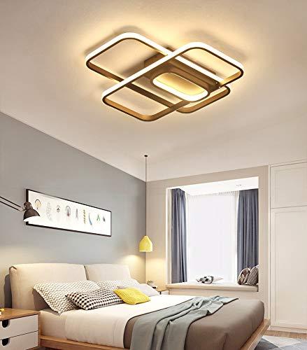 Lámpara de techo LED de color blanco cálido, rectangular, iluminación de techo, moderna, minimalista, rectangular, de diseño, para salón, dormitorio, comedor, casa, hierro, acrílico, 50 cm de largo