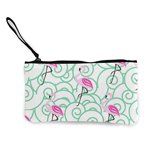 Seamless Pattern with Pink Flamingo Canvas Wallet Exquisite Coin Purses Small Canvas Coin Purse is Used to Hold Coin Change, ID and Other