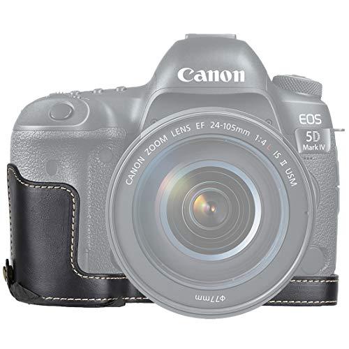 YANGZILING 1/4 Pouces Fil PU Appareil Photo en Cuir Demi-Base de Cas for Canon EOS 5D Mark IV / 5D Mark III (Noir) (Color : Black)
