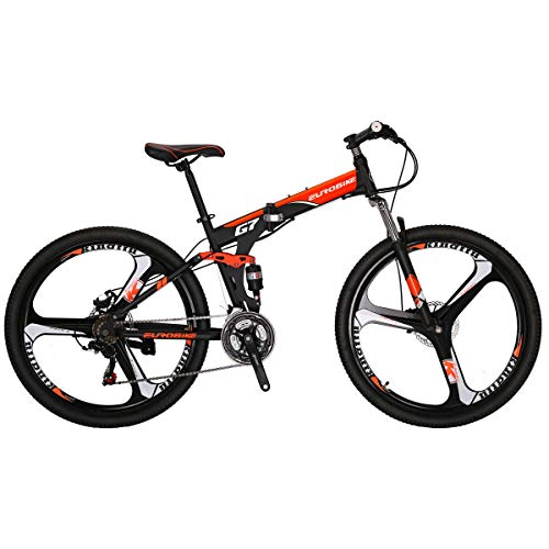 Eurobike Mountain Bike G7 21 Speed 27.5 Inches 3-Spoke Wheel Dual Suspension Folding Bike Dual Disc Brake MTB Bicycle Black Orange