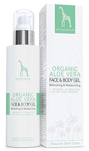 BIO-Aloe Vera Gel mit 100% reinem Aloe Vera Direktsaft – VEGAN - 200 ml by Mother Nature Cosmetics - hochwirksames, verwöhnendes Feuchtigkeitsgel für Körper und Haar, klebt nicht