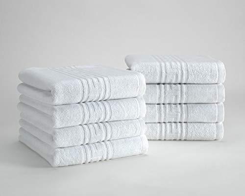 Prestige - Juego Toallas Hotel 100% algodón, Cenefa Jackard, Color Blanco (450 gr/m2, Set 8 Units (50x90 cm))