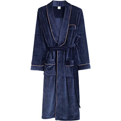 XRQ Ankleidenkleid Weiche Plüschbad-Robe, Plus Größe Loungewear-Kapuzenkleid-Nachtwäsche Für Frauen,Blau,XXL