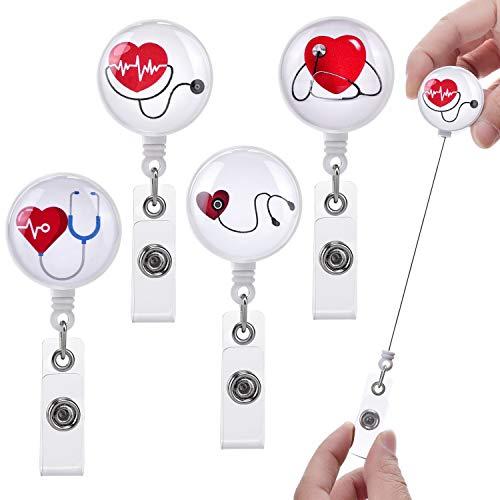 LHongL Badge reels Retractable for Nurses with Alligator Clip,Badge Clip id Badge Clip Retractable,id Badge Clip Retractable,Retractable id Badge Holder(4 Pack Heart)