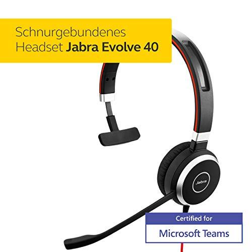 Jabra Evolve 40 MS Mono Headset - Microsoft zertifizierte Kopfhörer für VoIP Softphone mit passivem Noise-Cancelling - USB-Kabel mit Anrufsteuerung - Schwarz
