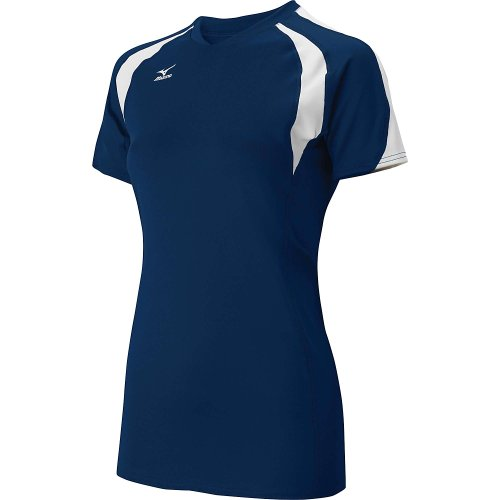 Mizuno Womens Techno Volley III Short Sleeve Volleyball Jersey - SIZE: Medium, COLOR: Navy/White