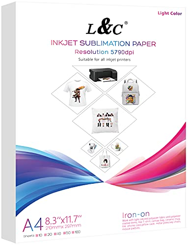 """MERRYWORK Sublimation Paper Heat Transfer Paper 100 Sheets 8.3"""" x 11.7"""" for Any Epson HP Canon Sawgrass Inkjet Printer with Sublimation Ink for T shirt Mugs DIY"""