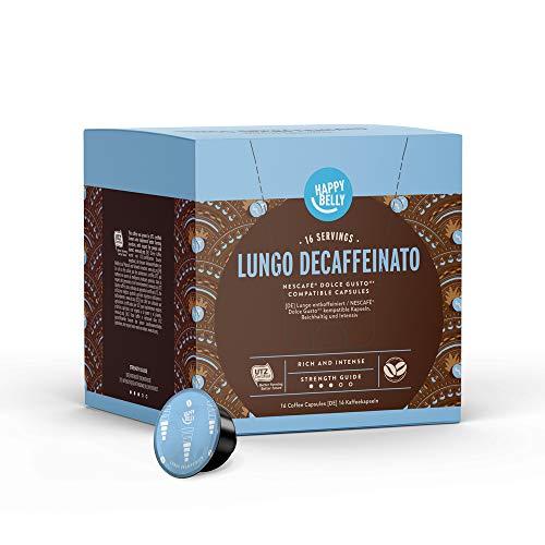 Amazon-Marke: Happy Belly - Lungo entkoffeiniert Kaffeekapseln Geeignet für NESCAFÉ® Dolce Gusto®* Maschinen, UTZ, 3x16 Kapseln (48 Portionen)