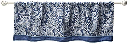"""Madison Park Aubrey Faux Silk Paisley Jacquard, Rod Pocket Curtain with Privacy Lining for Living Room, Kitchen, Bedroom and Dorm, 50"""" x 18"""", Navy"""