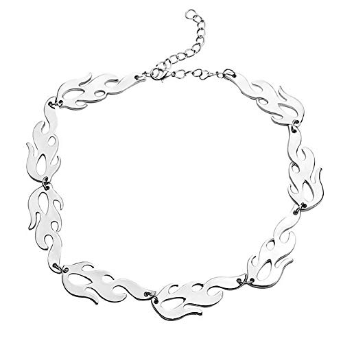 Harajuku streetwear Flame Women Unisex Necklace Punk Accessory Rock Chain Stainless Steel Men Choker Necklaces by BGTY Jewelry