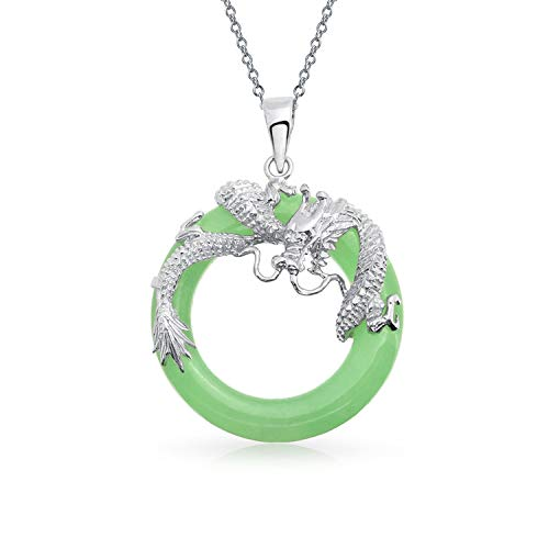 Asian Style Open Round Circle Disc Dyed Green Jade Dragon Pendant Necklace for Women 925 Sterling Silver 18 Inch