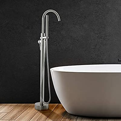 Freestanding Bathtub Faucet Tub Filler Brushed Nickel Floor Mount Brass with Handheld Shower