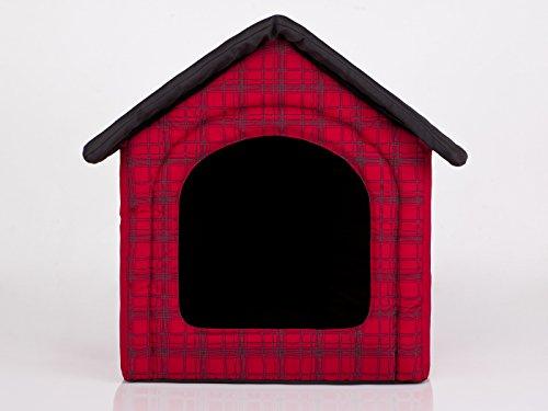 HobbyDog Hundehütte Hundebett Tierbett Katzenbett Rot mit Kariert