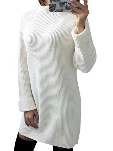 Minetom Winter Damen Pullover Sweater Strickkleid Warm Elegant Langarm Strickpullover Lang Weiß DE 38