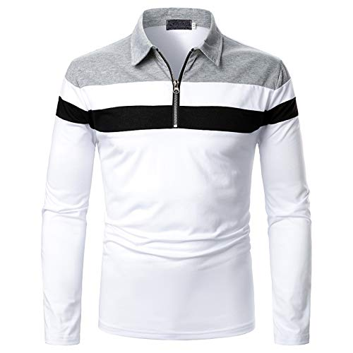 Poloshirt Polo Shirt polohemd t Shirt Polo Top Männer Casual Fit Slim Shirt Patchwork Stehkragen Langarm Shirt Herbst (XL,1Grau)
