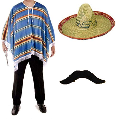 FashioN HuB Sombrero de poncho azul para adultos, bigote para hombre, disfraz mexicano, juego de 3 piezas, talla nica