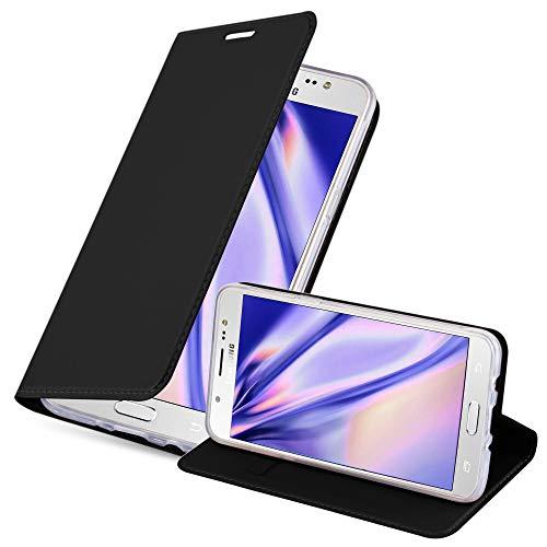 Cadorabo Custodia Libro per Samsung Galaxy J5 2016 in Classy Nero – con Vani di Carte, Funzione Stand e Chiusura Magnetica – Portafoglio Cover Case Wallet Book Etui Protezione