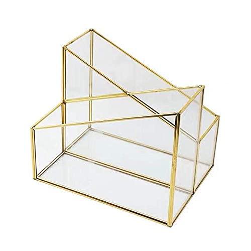 YLB Desktop-Datei-Rack-Ordner Kupfer-Barglas-Desktop-Aufbewahrungsbox Simple Magazine-Rack-Schreibwaren-Stifthalter-Speicher-Rack-Schreibtisch-Organizer (Farbe: Gold, Größe: 25.3x9.5x20,2 cm)