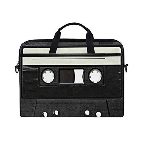 Ahomy 14-15,6 Zoll Laptoptasche, Vintage Audio Tape Retro Kassette Canvas Notebook Computer Tasche Tablet Schultertasche Tragetasche Tragetasche