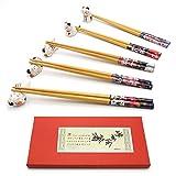 Chopsticks and Chopstick Rest Set, Cute Lucky Cat Chopsticks Holder 5 Cats, Classic Japanese Style Bamboo Natural Reusable Chopsticks, Dishwasher - Safe, Chopsticks Holder Gift Set 5 Pairs (Wooden)