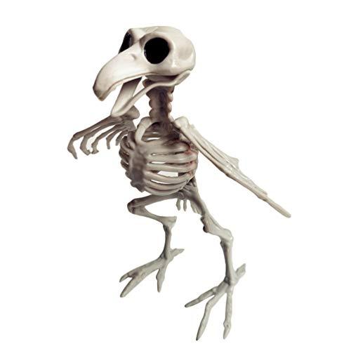 Amosfun Halloween Esqueleto Ornamento Cuervo Esqueleto Miedo Cuerpo Completo pájaro Huesos figuritas para Halloween casa embrujada decoración de Fiesta