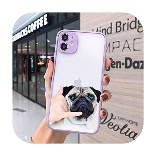 Lindo divertido animal bulldog art teléfono casos mate transparente para iphone 7 8 11 12 más mini x xs xr pro max cover-a10-iPhone11