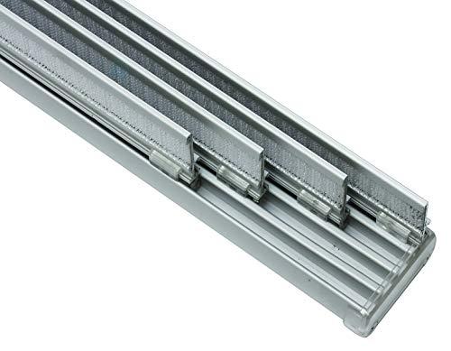 GARDINIA Komfort Flächenvorhangschienen Komplett-Set, 4-läufige Schiene, 225 cm, Aluminium