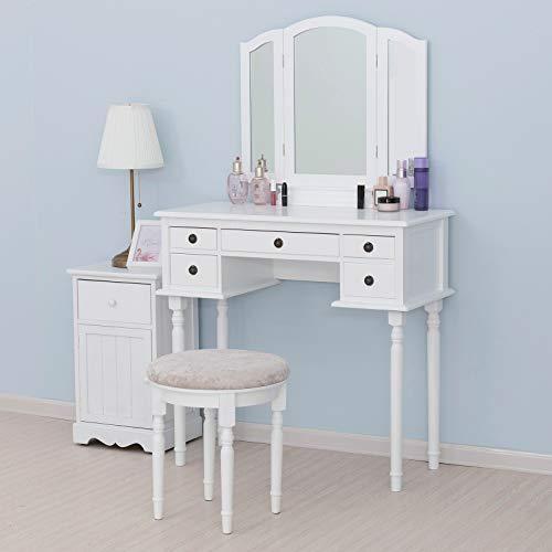 mecor Schminktisch Kosmetiktisch mit Klappspiegel Holz Make-up Tisch mit rundem Hocker & 5 Schubladen Schlafzimmermöbel für Frauen(Weiß)