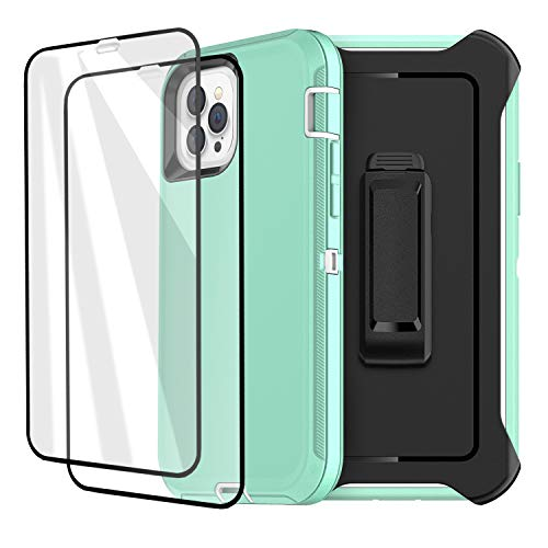 iPhone 12 Pro Max Case with Two Screen Protector Tempered Glass 3 Layer Rugged Heavy Duty Cases for iPhone 12 Pro Max 6.7 inch 2020 (Water Blue+White)