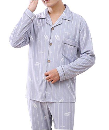 Mens Pijamas de algodón para Hombre Loungewear Conjunto Ropa de Dormir de algodón Conjunto de Longitud Completa Caballeros, 1, XXL