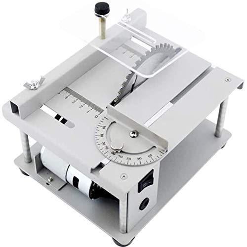 SIRUL Mini Sierras de Mesa, Mini Sierra de Mesa eléctrica Ajustable de 7 Niveles de Velocidad, con Hoja de Sierra Ajuste de ángulo de Velocidad Ajustable Profundidad de Corte de 40 mm