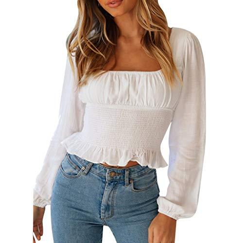 LeeMon - Blusa corta para mujer, con volantes, manga larga, color liso, casual Blanco L